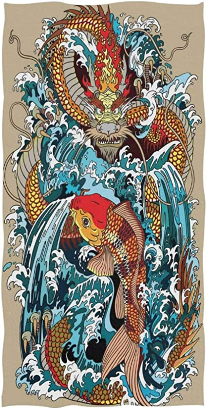 Naanle Golden Chinese Dragon Carp Koi Fish Waterfall Clear Blue Water Wave Tattoo Style Soft Bath Towel Absorbent Hand Towels Multipurpose For Bathroom Hotel Gym And Spa 30 X15 Home Kitchen Amazon Com