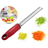 KinGHonor Zester Grater with Sharp Stainless Steel Blade ,Safety Cover ,Ergonomic Handle +Cleaning Brush ,Lemon Zester & Cheese Grater - Dishwasher Safe