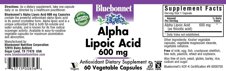 Bluebonnet Nutrition - Acido Alpha Lipóico 600 mg. - 60 cápsulas vegetarianas: Amazon.es: Salud y cuidado personal