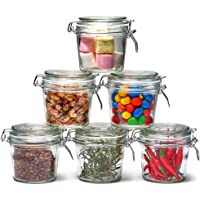 EZOWare 6 Piece Air Tight Clear Glass Jars with Hinged Clip Lid Decorative Canister Storage Container for Kitchen Spices…