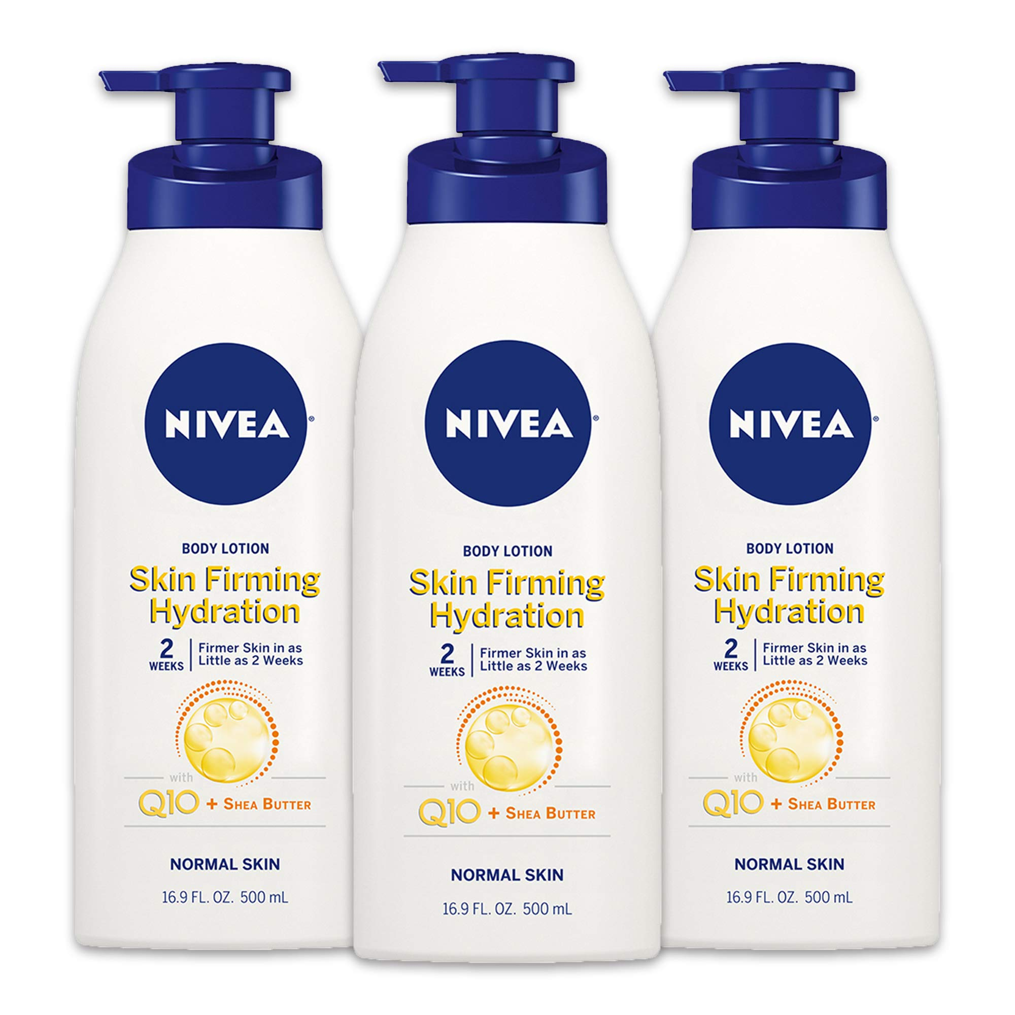 NIVEA Skin Firming Hydrating Body Lotion - With Q10 For Normal Skin - 16.9 oz. Pump Bottle (Pack of 3) by Nivea