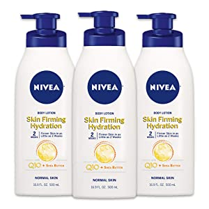 NIVEA Skin Firming Hydrating Body Lotion - With Q10 For Normal Skin - 16.9 fl. oz. Pump Bottle (Pack of 3)