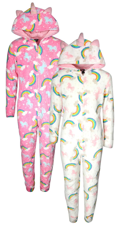 dELiAs Girls Coral Fleece Onesie Pajamas with Character Hood (2 Pack) dELiA*s
