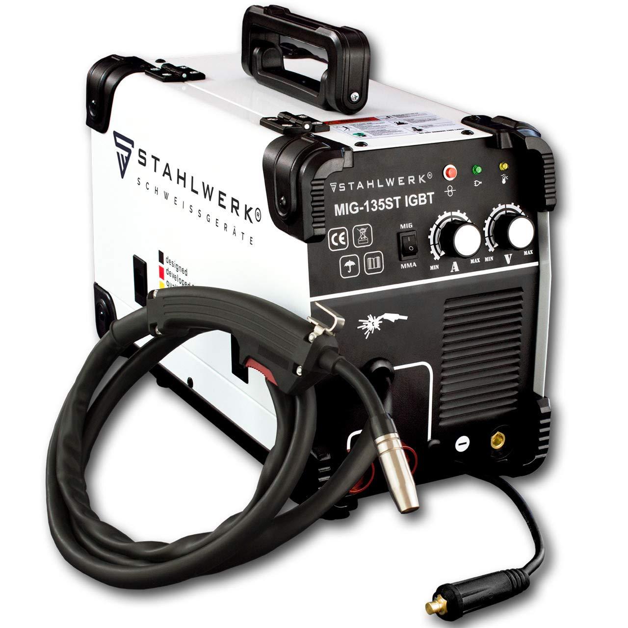 STAHLWERK MIG 135 ST IGBT - MIG MAG Schutzgas Schweiß gerä t mit 135 Ampere, FLUX Fü lldraht geeignet, mit MMA E-Hand, weiß , 5 Jahre Herstellergarantie