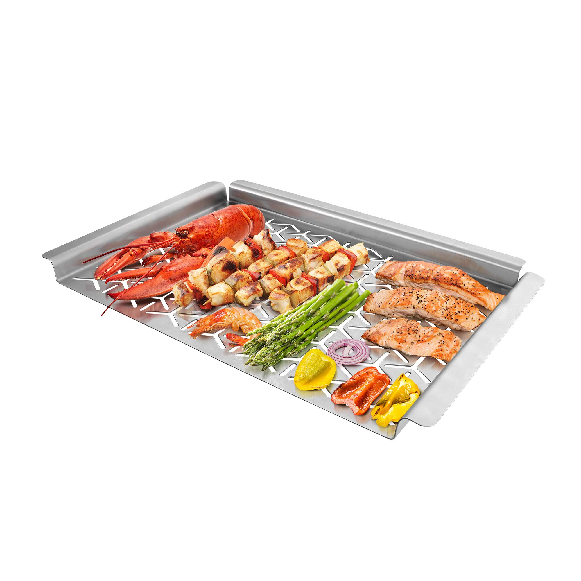 UNICOOK BBQ Grill Topper, Warp-Free Stainless Steel Grilling Pan, Heavy Duty Grill Basket, Perfect Cooking Tray for Delicate Items Like Vegetable Seafood and Fruit, Rectangular 16x11inch by UNICOOK