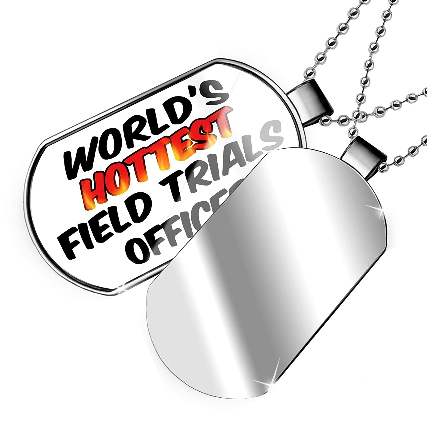 NEONBLOND Personalized Name Engraved Worlds Hottest Field Trials Officer Dogtag Necklace