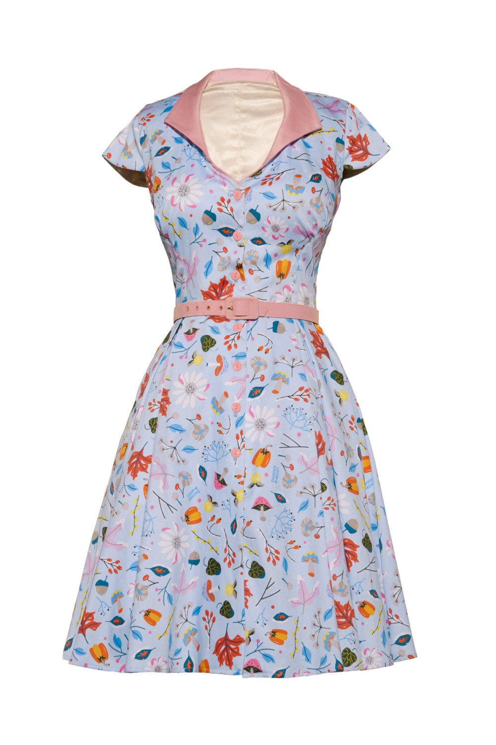 Womens Vintage Pinup Style Colette Dress in Ice Blue First Frost Print (3X)