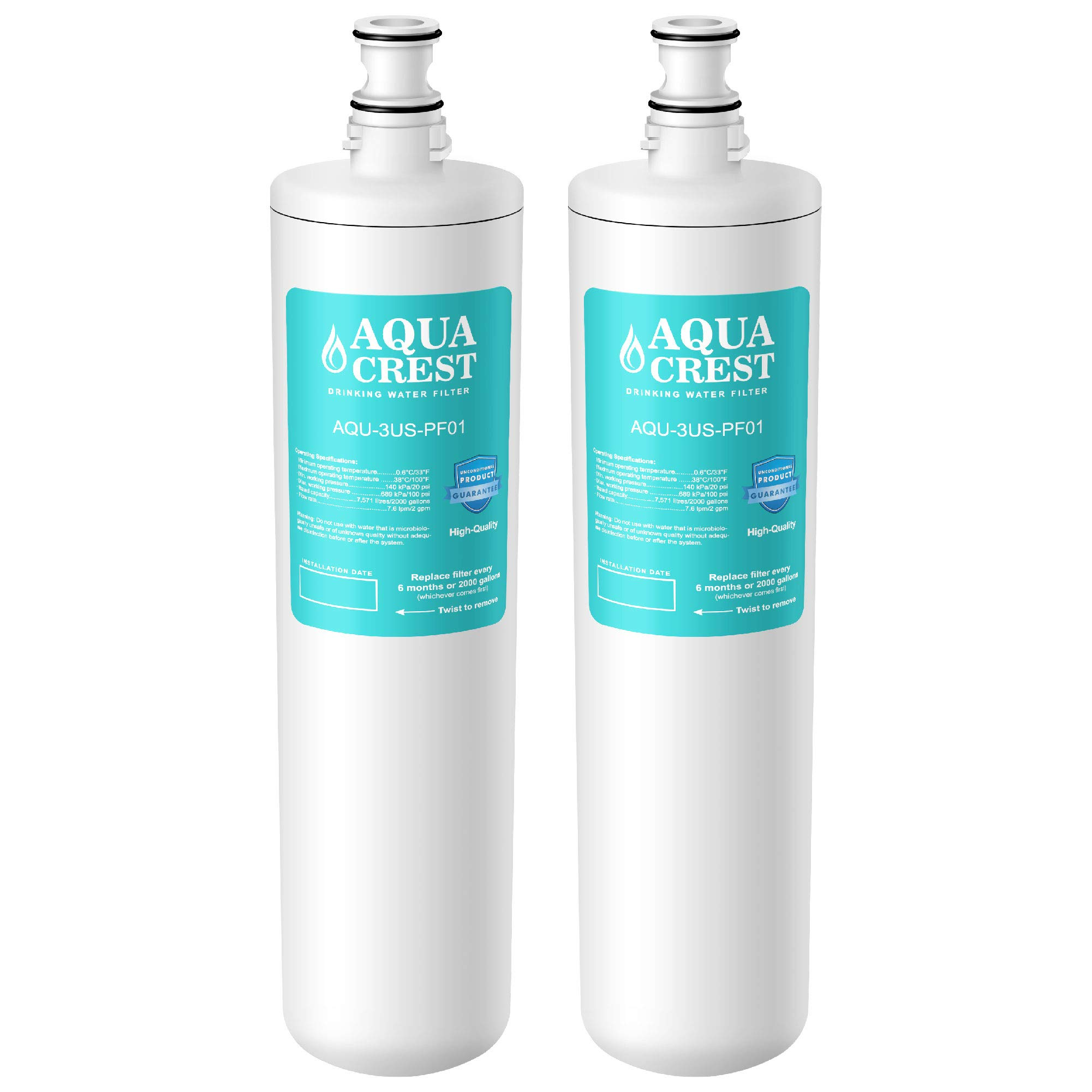 AQUA CREST 3US-PF01 Under Sink Water Filter, Compatible with Filtrete Advanced 3US-PF01, 3US-MAX-F01H, 3US-PF01H, Delta RP78702, Manitowoc K-00337, K-00338 Water Filter (Pack of 2) by AQUA CREST
