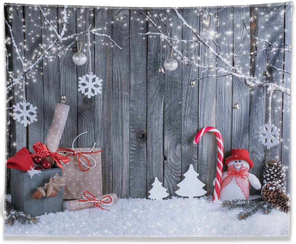 Allenjoy 10X8ft Fabric Christmas Photography Backdrop Winter Snowman Santa Gifts Wood Background Xmas Eve Holiday Party Supplies Cake Table Banner Home Decoration Portraits Photo Booth Studio Prop