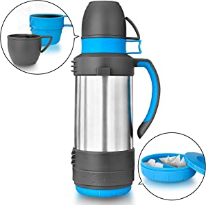 Stainless Steel Vacuum Thermos, ENLOY Outdoor Sport Insulation Thermal Carafe for Coffee Beverage Water, Heat and Cold Retention 61Oz (1.8L)