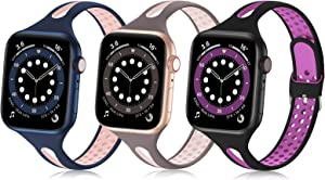 Bandiction Compatible with Apple Watch Bands 38mm 40mm, Soft Silicone iWatch Band 38mm 40mm Sport Band Women Thin Slim Narrow Breathable Watch Strap Compatible for iWatch SE Series 6 5 4 3 2 1, 3 Pack