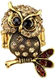 Szxc Jewelry Women's Crystal Owl Stretch Rings
