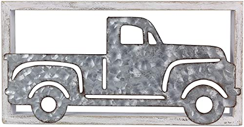 The Bridge Collection Rustic Framed Galvanized Metal Pickup Truck Wall Art