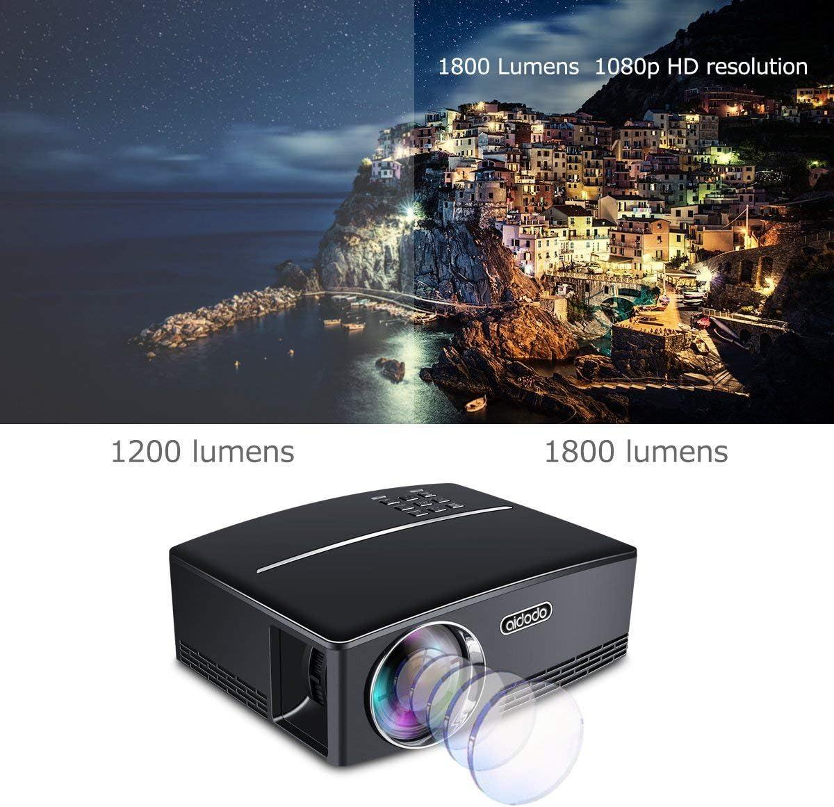 Proyectores, TOQIBO Proyector Portátil 1800 lúmenes LED Mini ...