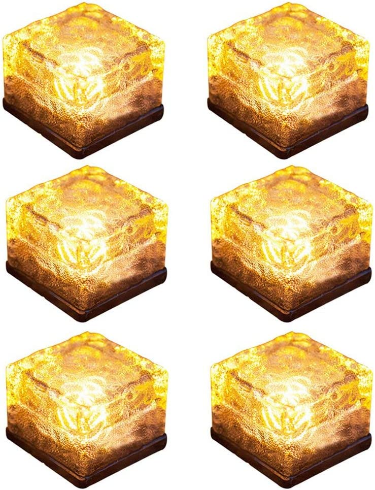 Solar Brick Lights Ice Cube Light Lamp Frosted 2.8x2.8 Size LED Landscape Light Buried Light Square Cube for Outdoor Night Lamp Garden Courtyard Pathway Festival Decoration (6 Pack Warm White)