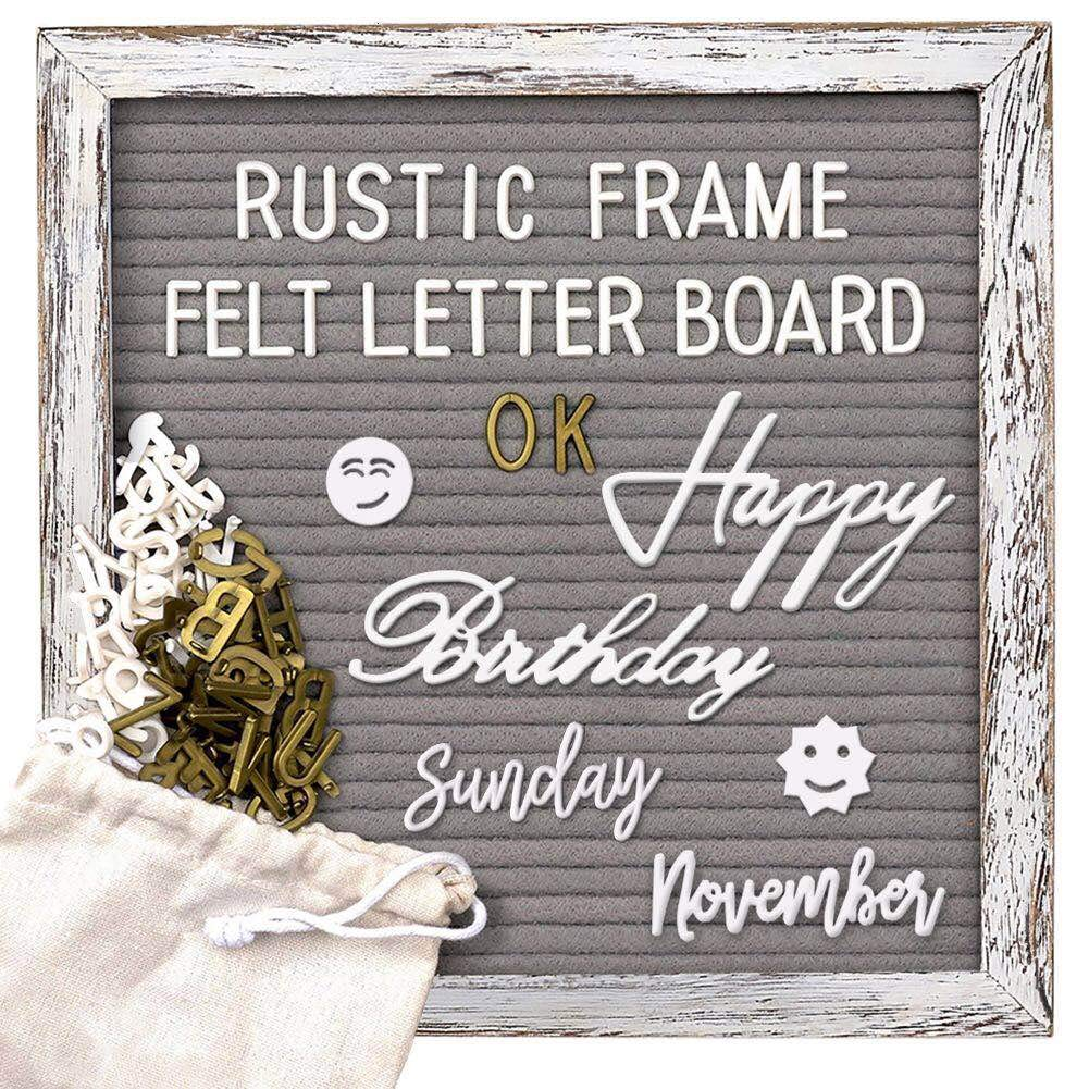 Tukuos Double Sided Felt Letter Board,750 Precut Gold & White Letters, Months & Days & Extra Cursive Words and Wall & Tabletop Display, Storage Ponch(Gray 10inx10in)