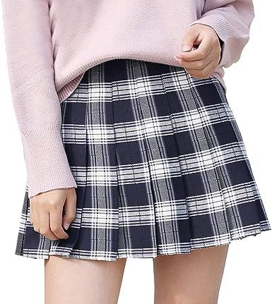 BOLAWOO-77 Falda A Cuadros De Otoño Invierno Faldas De Damas Mode ...