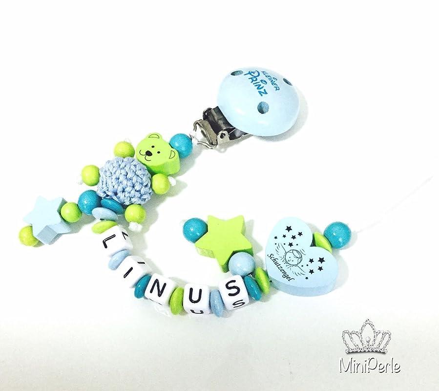 Schutzengel Bär mit Häkelperle Baby Geschenk Schnullerkette mit Namen