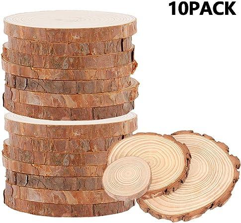 Unfinished Round Natural Wood Tree Slices Craft Kit Discs Circle Arts Decor DIY