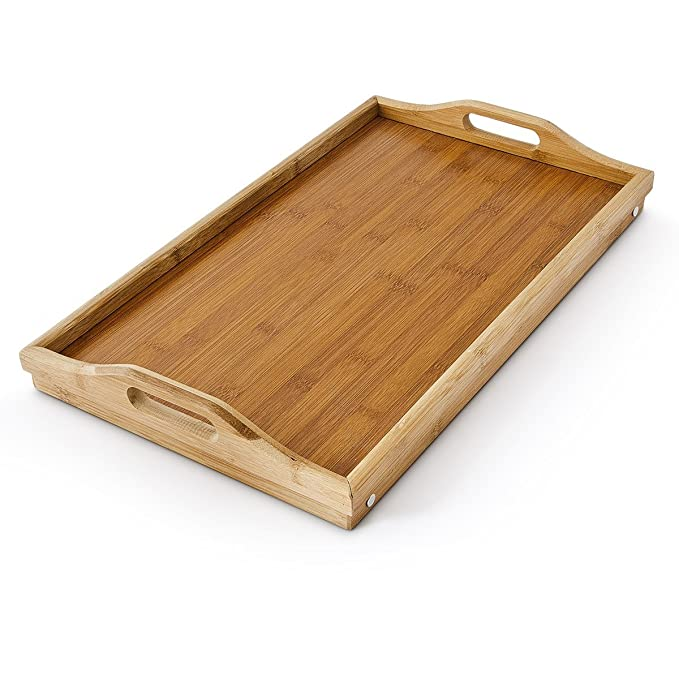 LETTUCE EAT /® Folding Bamboo Breakfast Lap Tray Wood Over Bed Table Stand Kitchen Wooden New