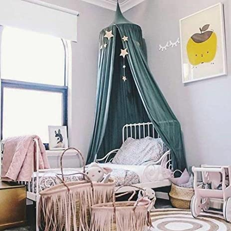 Charmant Blue Cotton Round Kids Canopy Bed Netting Mosquito Net Full Queen King Size  Bedding