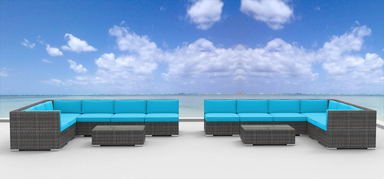 Urban Furnishing – La Jolla 14pc Modern Outdoor Wicker Patio Furniture Modular Sofa Sectional Set, Fully Assembled – Sea Blue