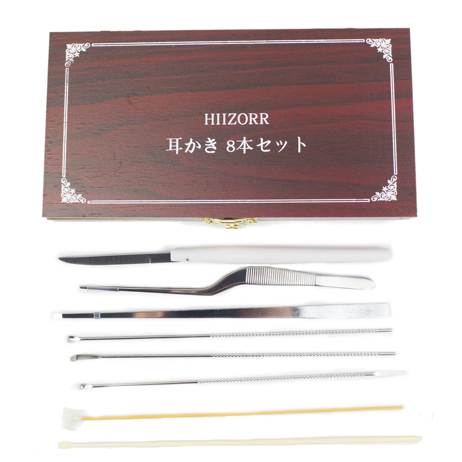 Earwax Removal 8pcs Ear Pick Ear Curette |Respecting Stainless Steel Ear Wax Removal Kit with Wooden Srotage Box