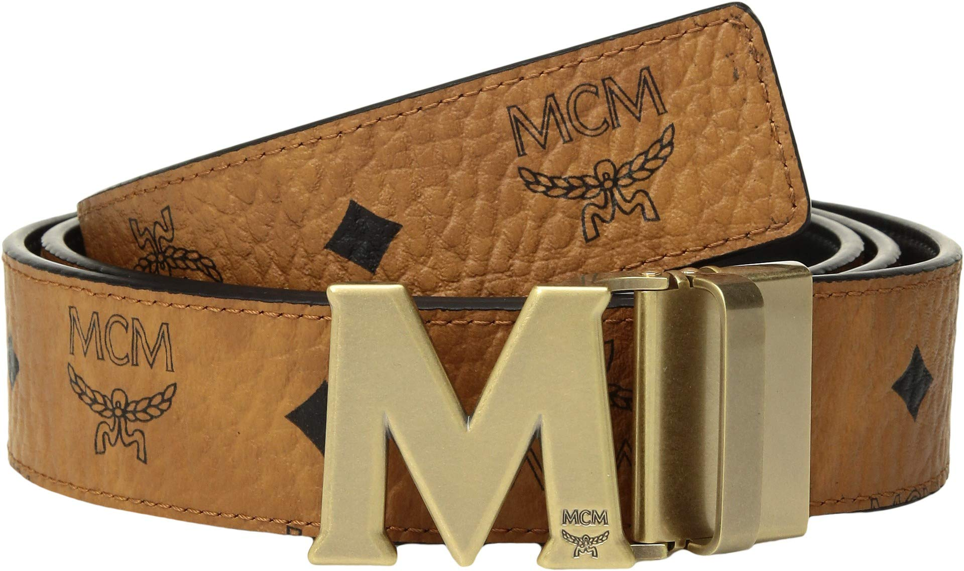 MCM Mens Claus Reversible Belt Cognac One Size