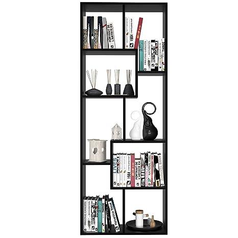 Scaffali Libreria Bianchi.Homfa Scaffale Legno Libreria Da Muro Mobile Da Terra In Mdf Per Ufficio Studio Ingresso Disegno Elegante E Moderno 60 24 160cm Nero