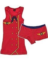 Red Flight Attendant Novelty Juniors Short Sleep Set