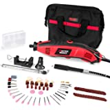 Multifunctional Rotary Tool Kit with Variable Speed, 100pcs Versatile Accessories, Flexible Shaft, Holder Hanger and Cutting Guide for Home and Crafting Projects, Masterworks MW119
