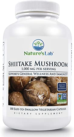Nature's Lab Shiitake Mushroom 1000mg Dietary Supplement - Organic, Non-GMO Project Verified - Supports General Wellness Immune System & a Healthy Inflammatory Response - 180 Capsules (90 Day Supply)