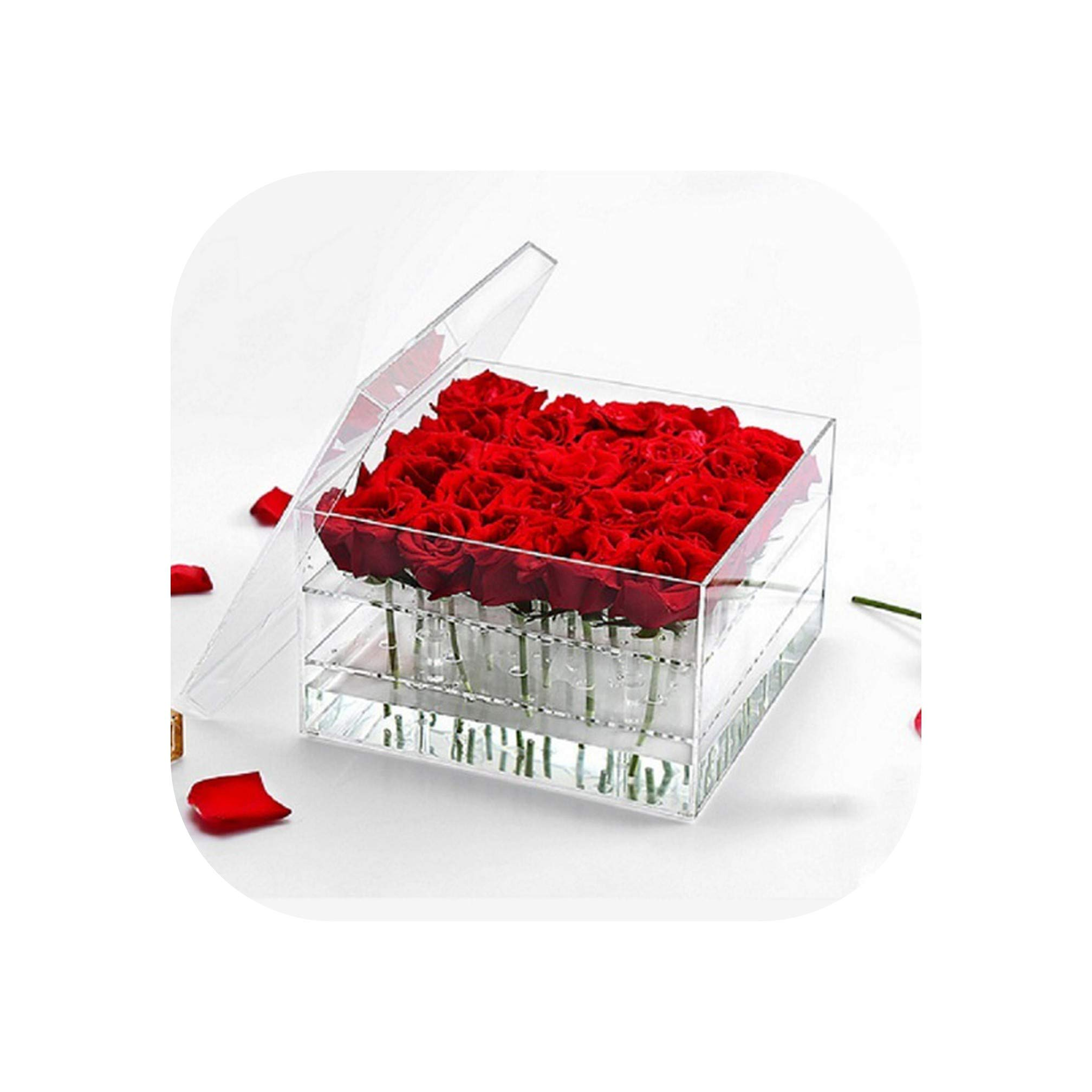 Valentine's Day Rose Flower Storage Box Transparent Acrylic Flower Box Paper Packaging Carton Plus Foam Label Gift Box for Girls,25 Hole,Clear by Sweet But Psycho Flower Box