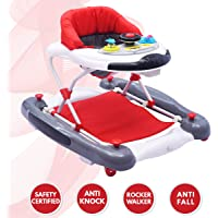 R for Rabbit Ringa Ringa Baby Walker - The Anti Fall Baby Walker Cum Rocker with Adjustable Height and Musical Toy Bar (Red White)