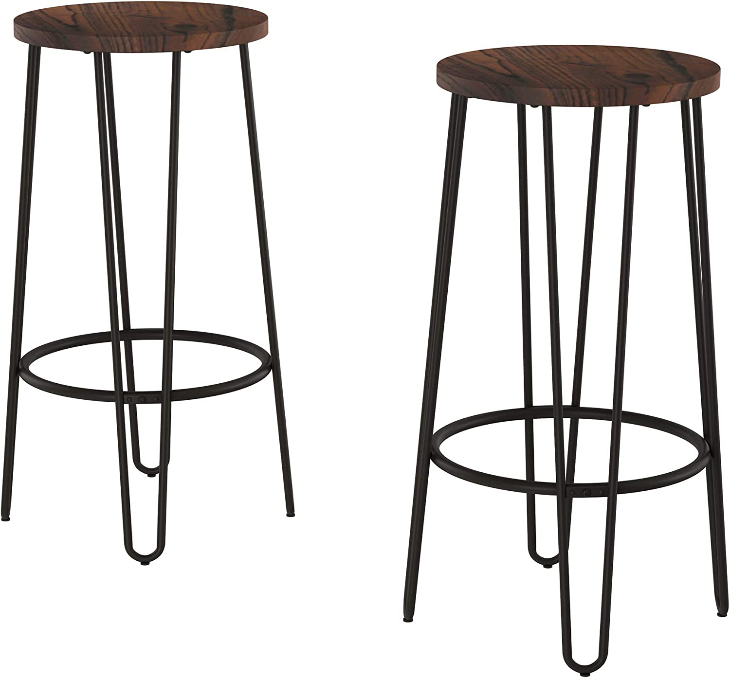 Lavish Home Bar Height Stools-Backless Barstools with Hairpin Legs Wood Seat-Kitchen or Dining Room- Modern Farmhouse Accent Furniture (Set of 2)