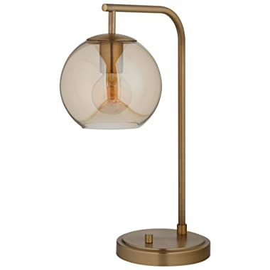 Rivet Hudson Mid-Century Modern Globe Table Desk Lamp With Edison Light Bulb - 21 Inches, Brass with Tinted Glass