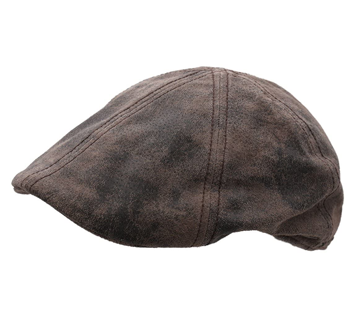Stetson Mens Texas Pigskin Leather Flat Cap