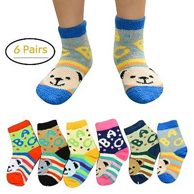 6 Pairs Baby Kids Children Coral Fleece Socks Slipper Socks Bear Letter Printed Cute Cartoon Floor Socks by Elfjoy