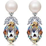 """J NINA """"The Countess"""" Women Pearl Piece Earrings made with SWAROVSKI® crystals, from """"The Marriage of Figaro"""" , Nickel-Free"""