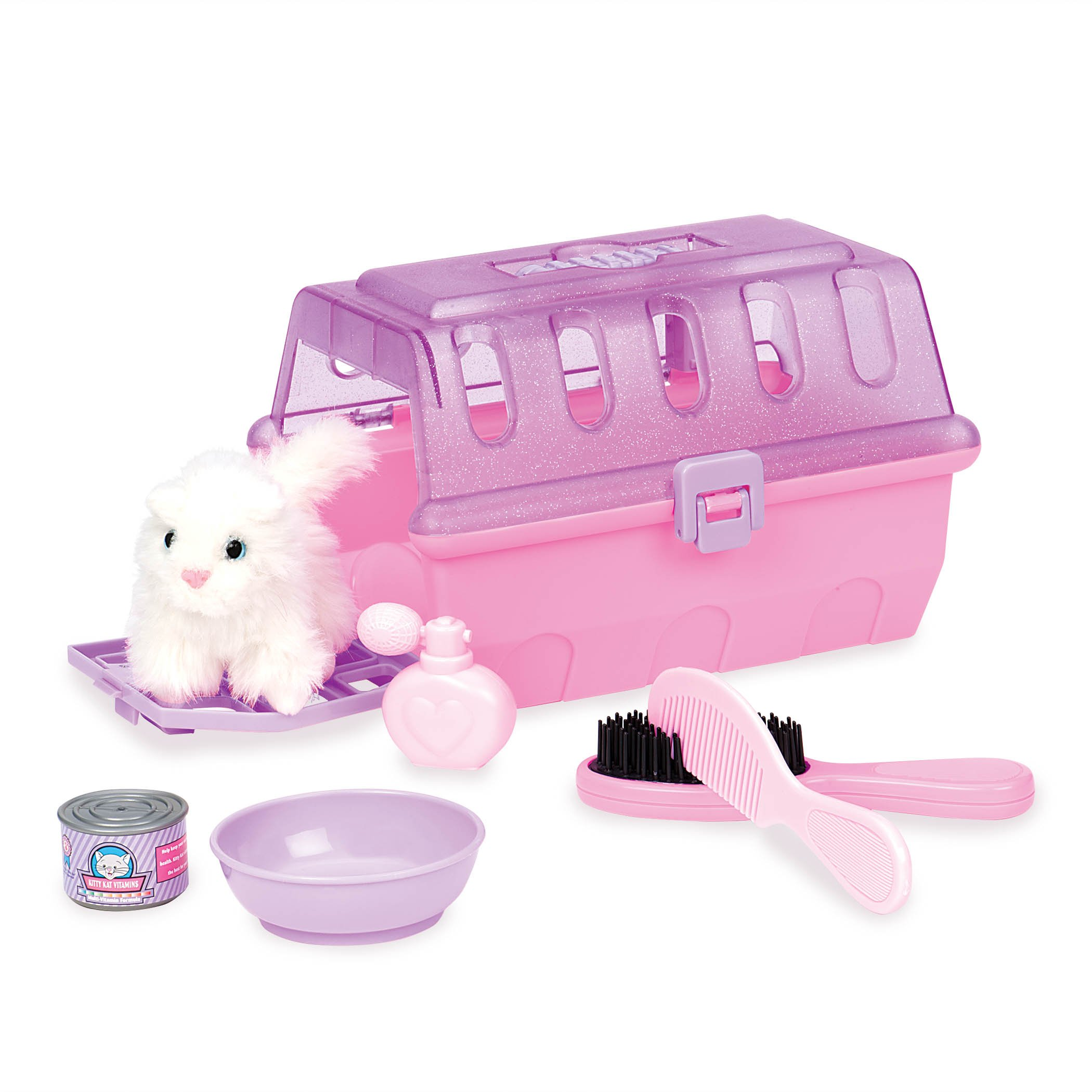 Play Circle by Battat – Pink Cat Grooming Kit – Pretend Play Cat Carrier with Plush Kitten, Brush, Toy Food, and Accessories – Pet Vet Care Set for Kids Ages 2 and Up (7 Pieces)