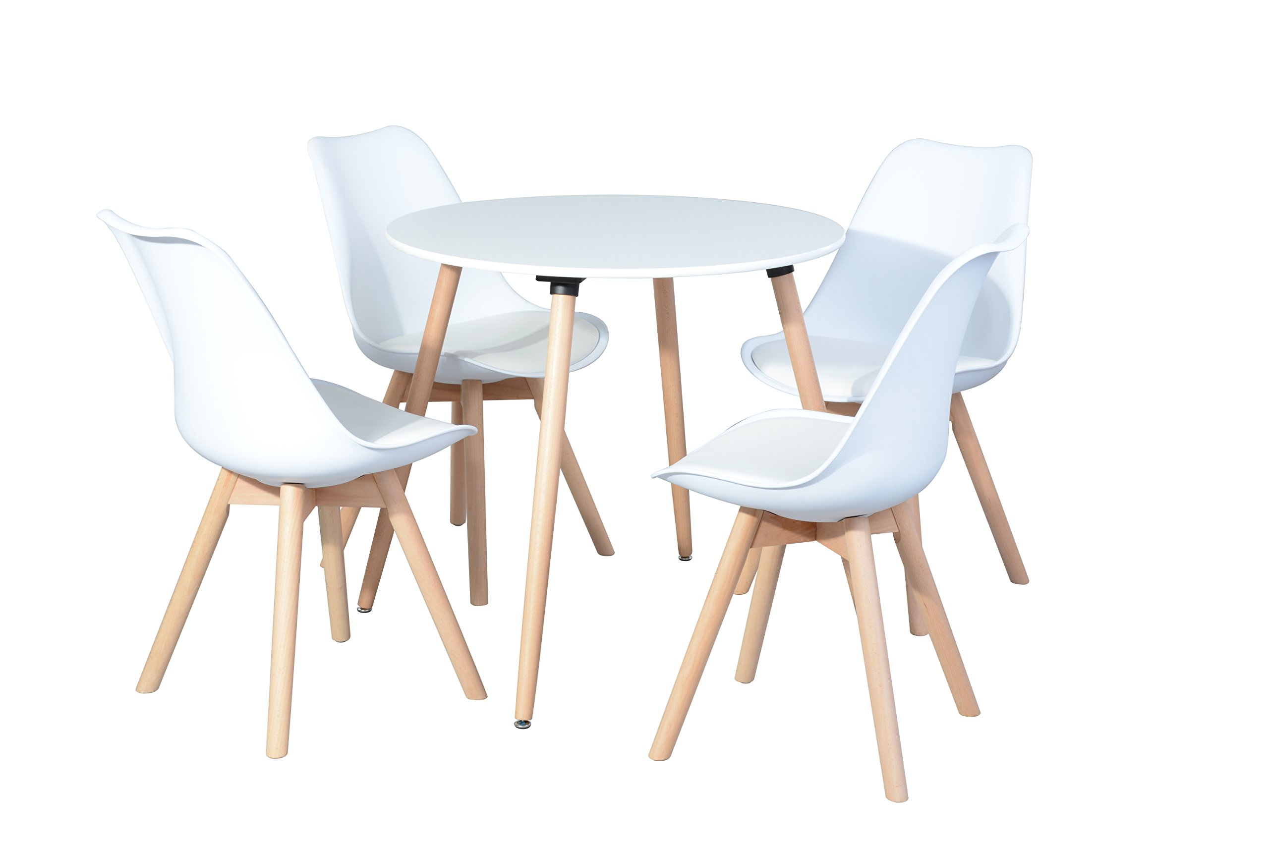 White Finish Top Steel Legs in Natural Color Round Dining Table - Mid Century Style (Table only) by None (Image #2)