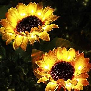 Garden Solar Sunflower Stake Lights,Outdoor Decorative Solar Lights,Solar Powered Pathway Flower Lights LED Solar Lights Waterproof Landscape Lights for Lawn Patio Yard Decor