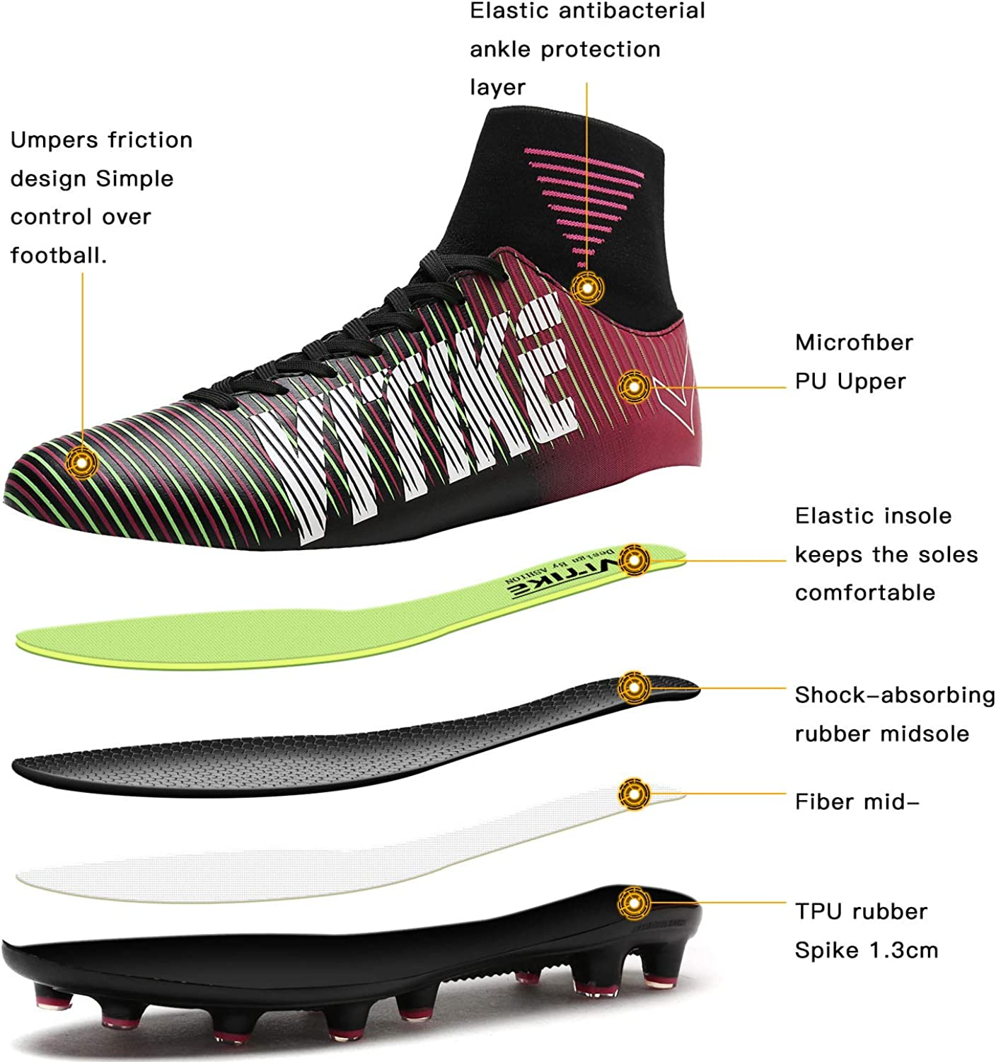 Littleplum Soccer Cleats Shoes Football Boots Cleats High-top Sock Shock Buffer Outdoor