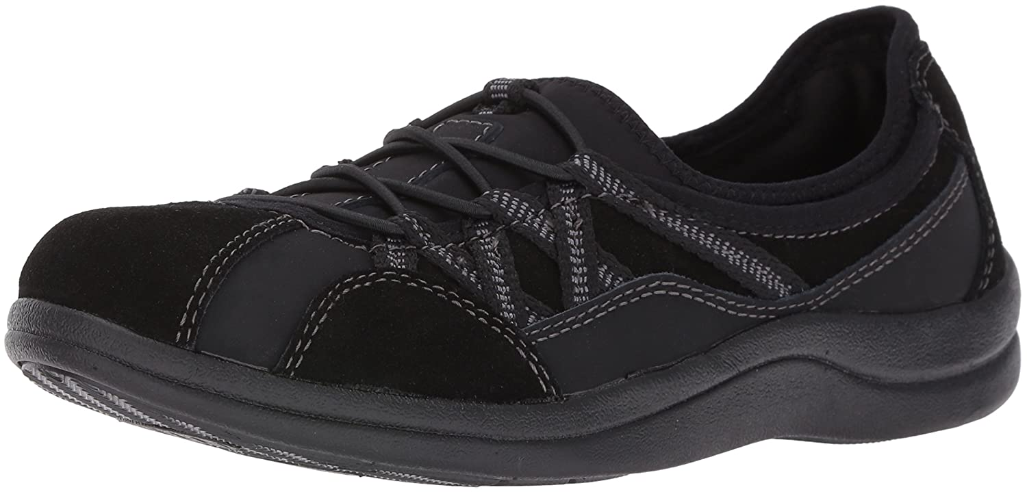 Easy Street Women's Laurel Flat B01JU8GG5U 9.5 N US|Black Leather/Suede Leather