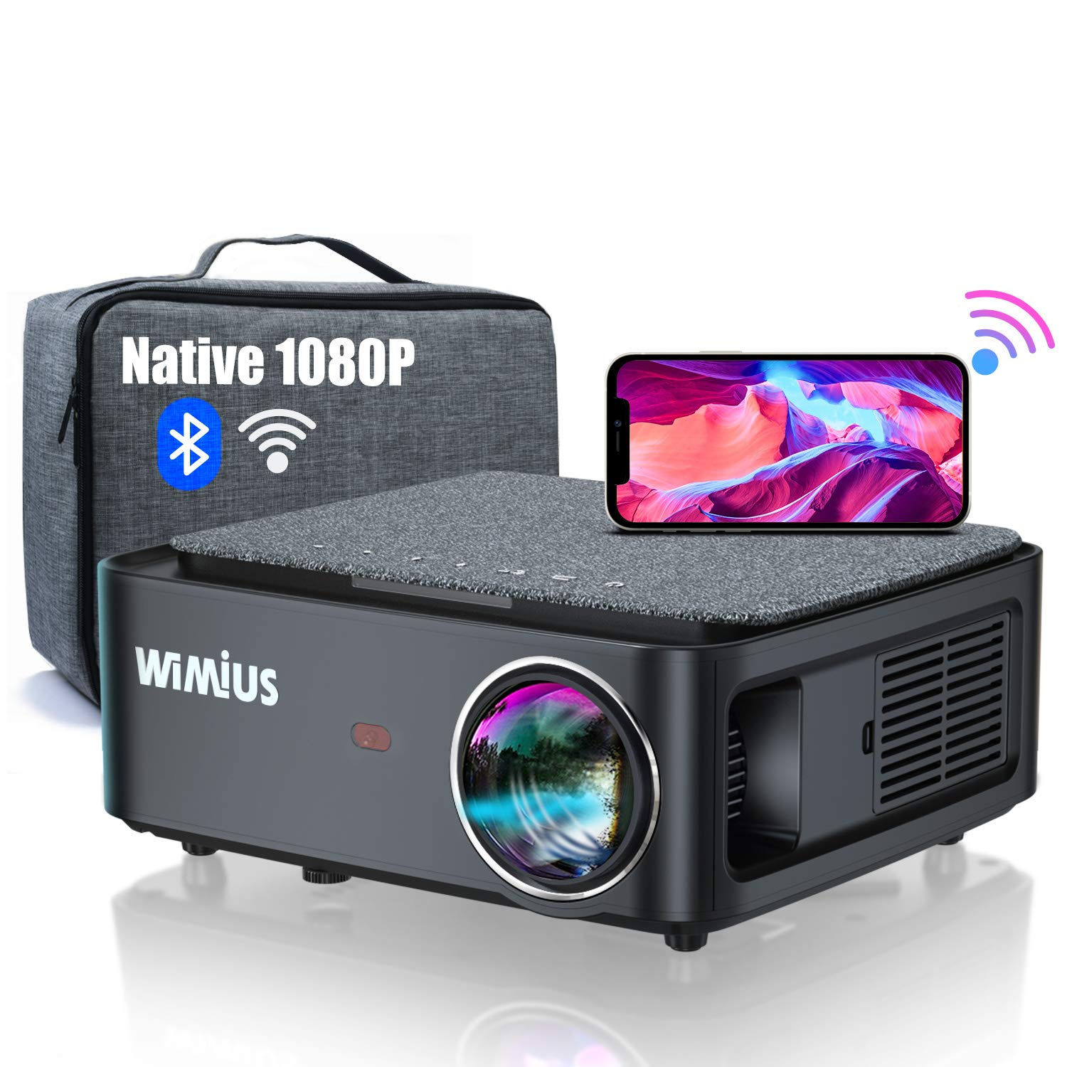 """5G WiFi Bluetooth Projector, WiMiUS K1 8500L Video Projector Native 1920x1080 LED Projector Support 4K, ±50° Keystone, Zoom 500"""" PPT Works with Fire TV Stick PC DVD PS4 Smartphones"""