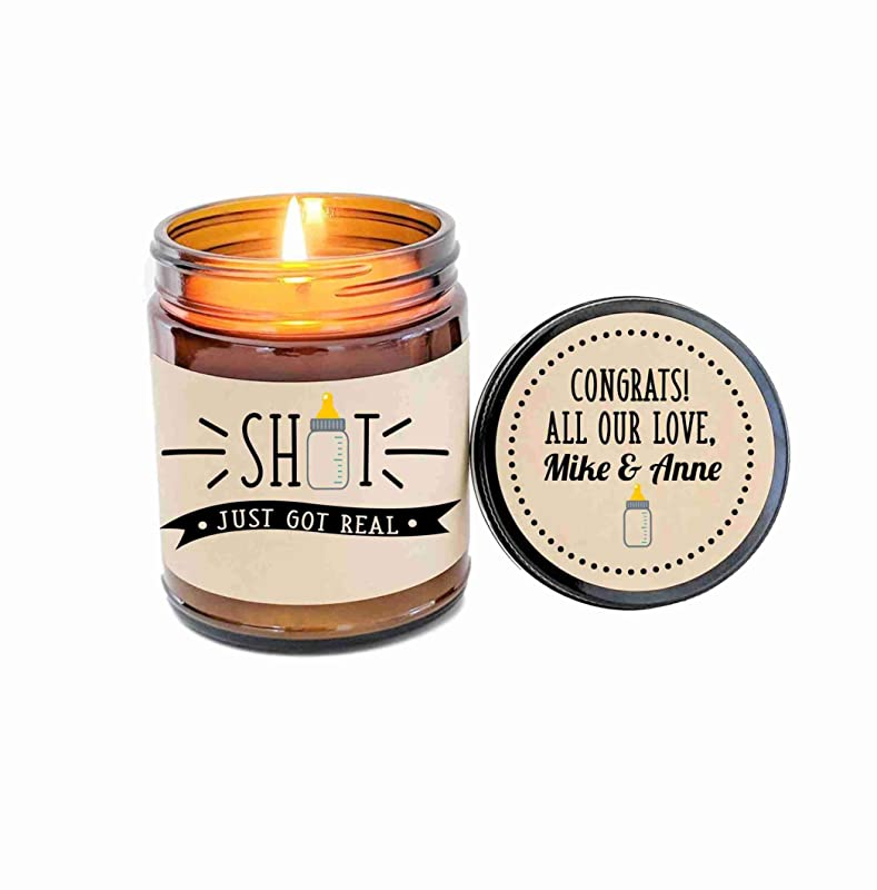 Pregnancy Gift Promotion Gift Engagement Gift Shit Just Got Real Card Shit Just Got Real Candle Gift Graduation Gift