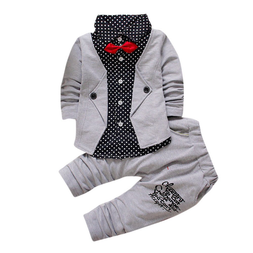 Voberry Kid Baby Boy Gentry Clothes Set Formal Party Christening Wedding Tuxedo Bow Suit (12M, Gray)