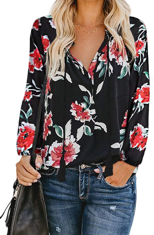 Womens Long Sleeve T-Shirt Blouse Boho Floral Baggy Tops Tee Tunic T Shirt