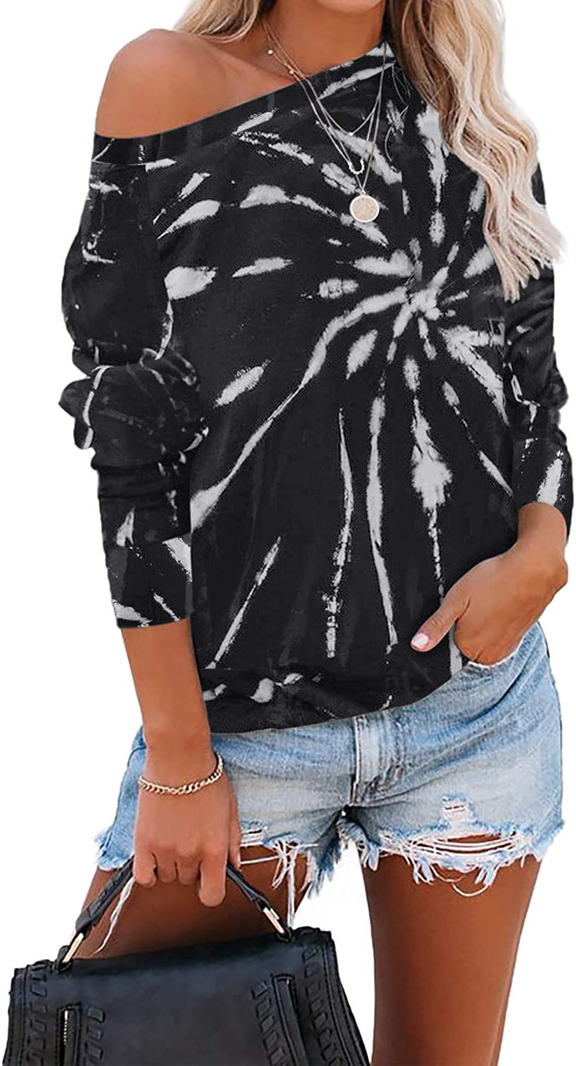 GOSOPIN Womens Tie Dye Printed Long Sleeve Sweatshirt Round Neck Casual Loose Pullover Tops Shirts