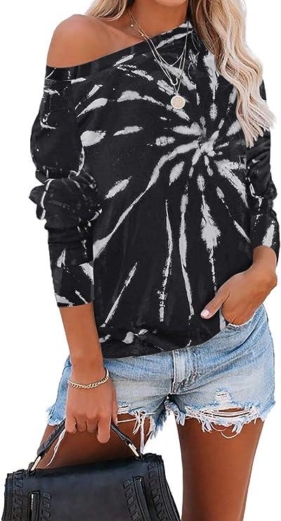 Womens Tie Dye Crewneck Long Sleeve Sweatshirt